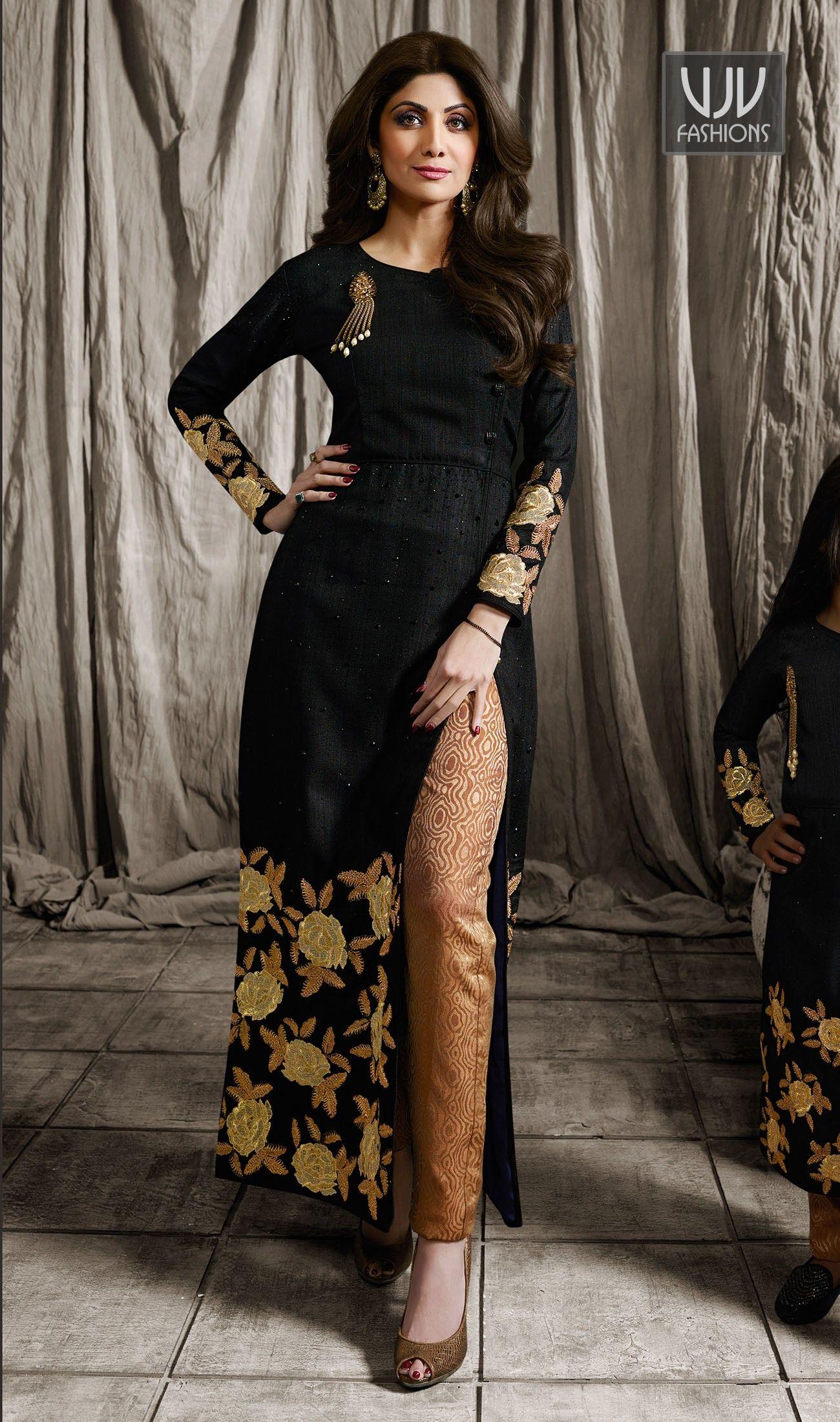 Shilpa Shetty Black Color Raw Silk Designer Salwar Suit Be your ...