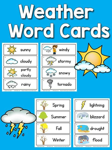 Weather Picture Word Cards Teaching Preschool