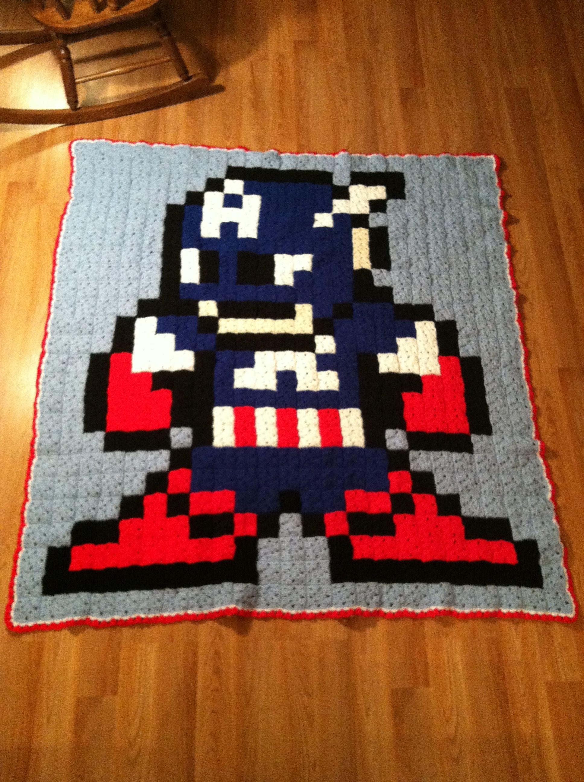 Finally finished my 8-bit Captain America Crochet Blanket. #Marvel ...