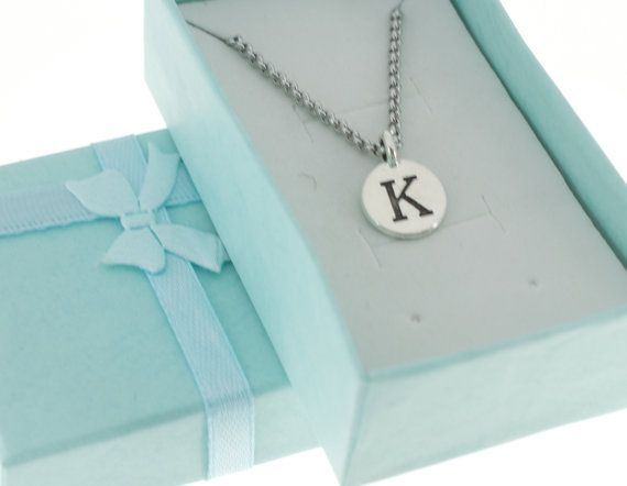 Antique Silver Plated Pewter Initial Charm Necklace.  Initial Necklace. Initial Charm. Initial Jewelry. Letter K. necklace.