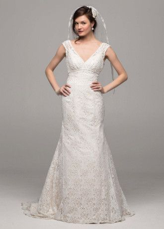 26d6cc80e1a89 David s Bridal Collection All Over Beaded Lace Trumpet Gown Style T9612 i  think i tried this one on...back too low