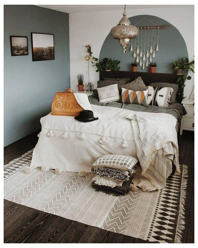 Bohemian Bedroom Wall Color Bohemianbedroomwallcolor In 2021 Green And White Bedroom Sage Green Bedroom Gray Bedroom Walls Gray boho bedroom ideas