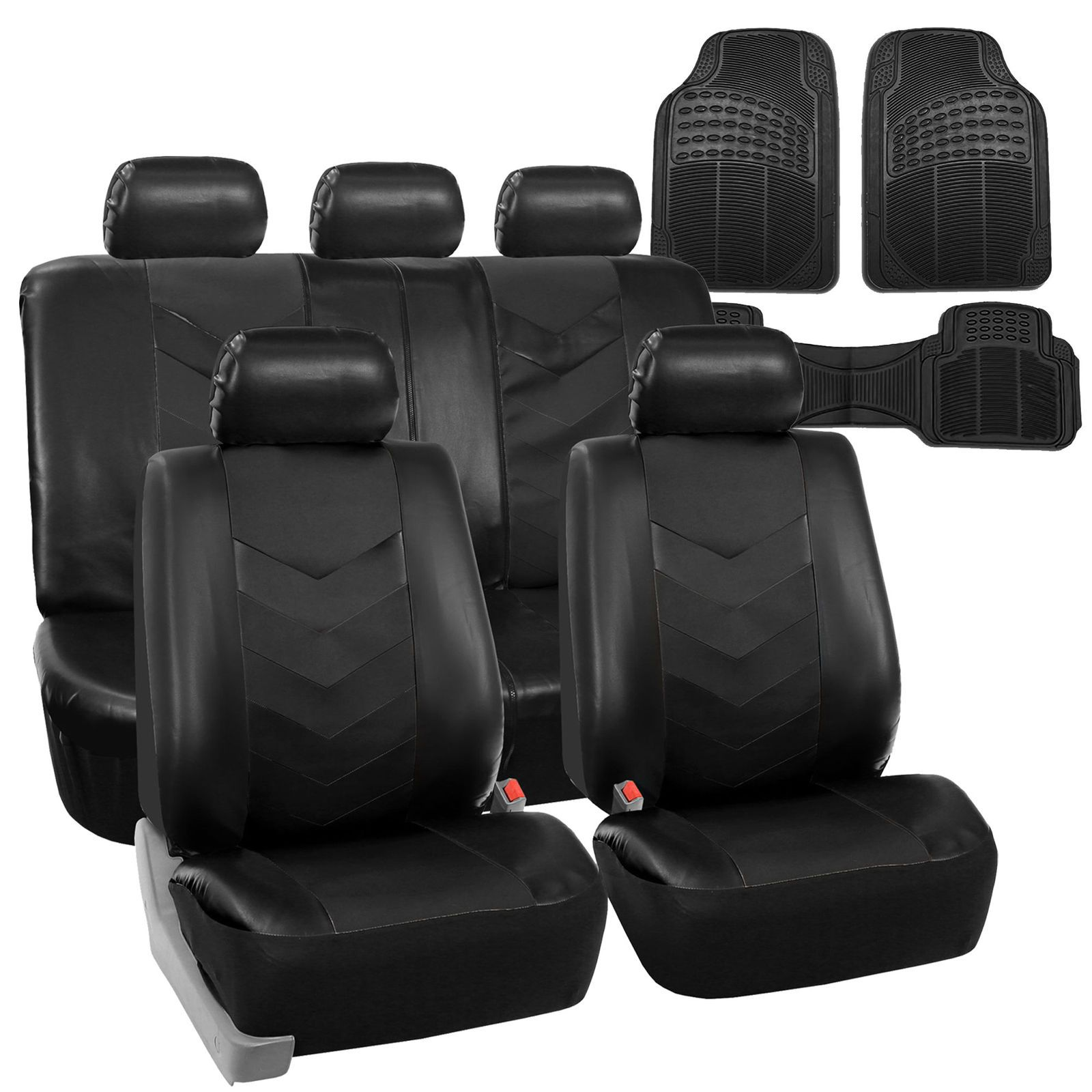 Used Faux Leather Car Seat Covers for Auto Black W/ Heavy