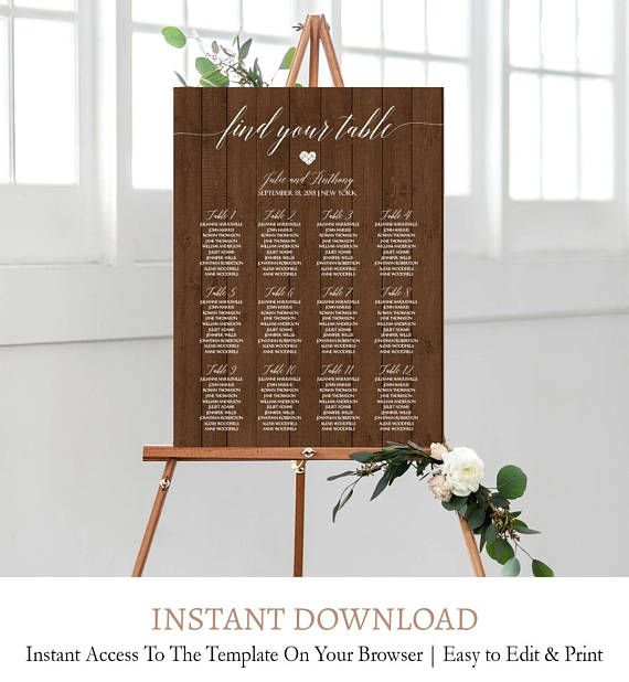 Rustic Wedding Seating Chart Template, Table Seating Printable