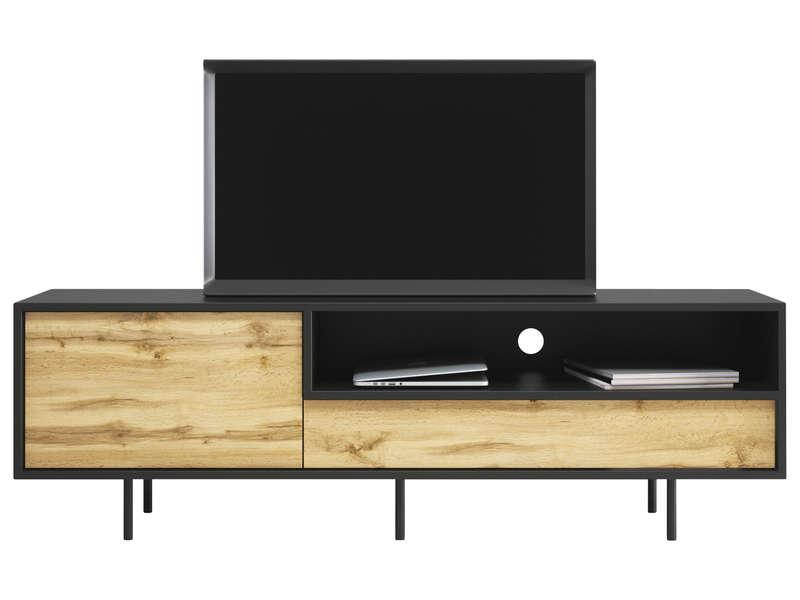 meuble tv tabou coloris chene et noir