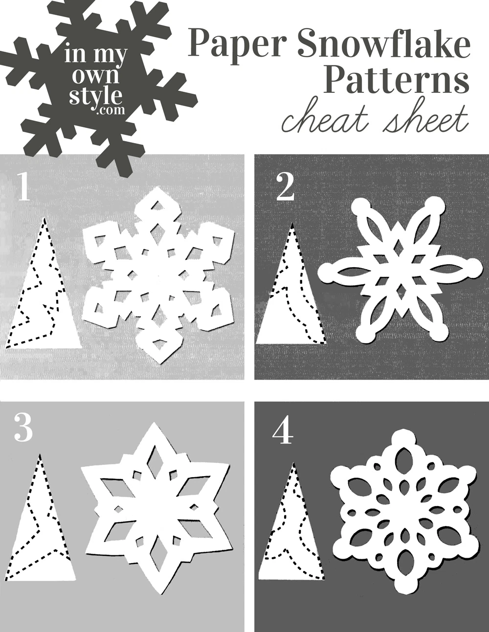 Keep this paper snowflake making pattern cheat sheet handy when you want to make festive snowflakes to decorate your home for the holidays. #papersnowflakes #snowflaketemplates #snowflakepatterns #papersnowflakesDIY #papersnowflakeseasy #papersnowflakeshowtomake