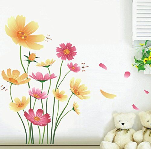 Boodecal Light Multicolor Blossom Daisies Flowers Peel  Stick Murals Wall Decals Removable for Livingroom Sofa Background Decor Stickers * Learn more by visiting the image link. (Note:Amazon affiliate link)