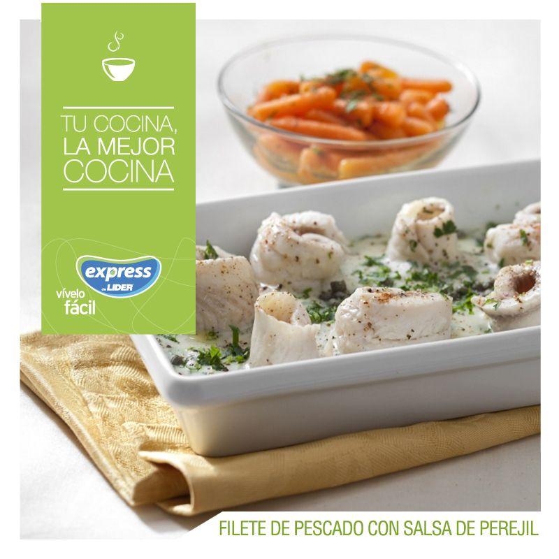 Filete de pescado con salsa de perejil. #Recetario #Receta #RecetarioExpress #Lider #Food #Foodporn