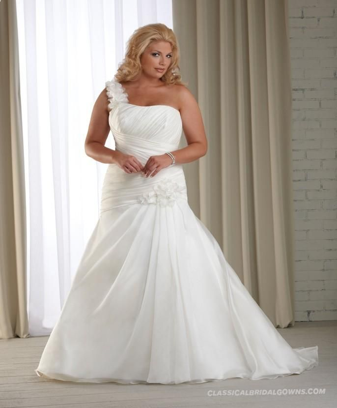 Get Beautiful 2013 One Shoulder Plus Size Modest Wedding Dress