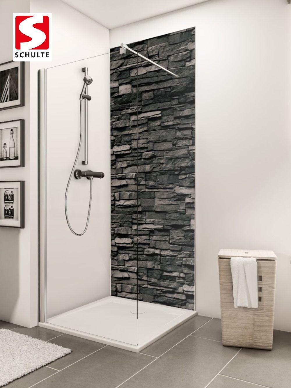 Schulte Duschruckwande Decodesign Dekor Stein Verblender Anthrazit Paneel Wandverkleidung In 2020 Duschruckwand Wandverkleidung Bad Dusche