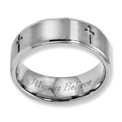 Zales Mens 8.0mm Engraved Cutout Cross Wedding Band in Titanium (1 Line) oHSVIGp02V