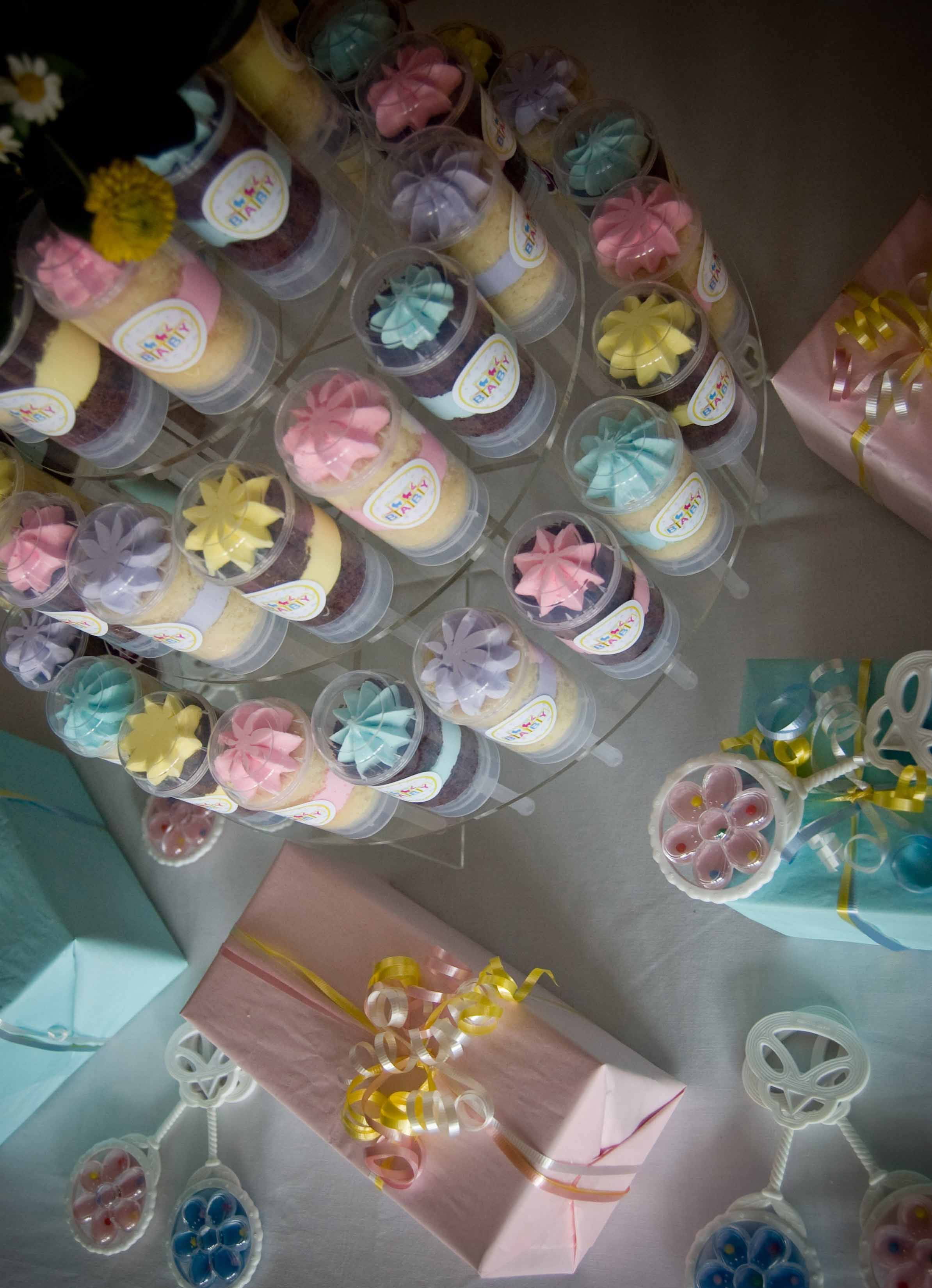 Tier For A Baby Shower Decorated In Pink Yellow And Blue Try