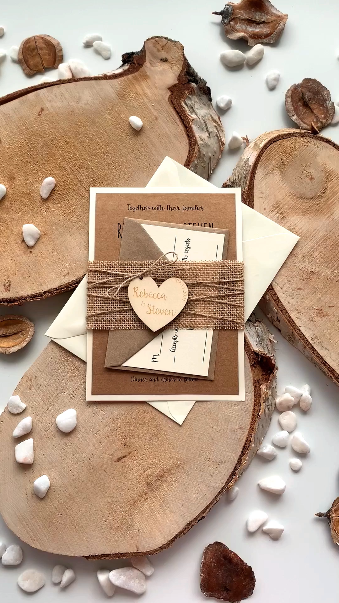 Rustic Wedding Invitation With Wood Heart inspired by rustic and country weddings. The addition of the paper contrast color and natural burlap and personalized heart on the belly band turns this invitation merely perfect. #custominvitation #weddinginvites #rusticweddinginvitations #woodenweddinginvitations #wedoweddinginvitations #countryweddinginvitations #lasercutweddinginvitations #personalizedweddinginvitations #rusticweddingideas #rusticweddinginvites