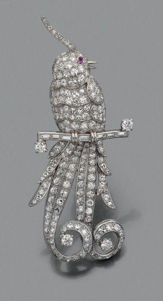 Diamond & Ruby Bird Brooch [$7,491]