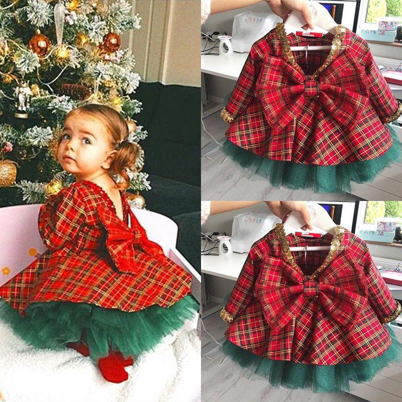 Plaid Long Leggings 2Pcs Christmas Outfits Set Toddler Baby Cute Girls New Year Clothes Long Sleeve Xmas Tree Shirt Tops