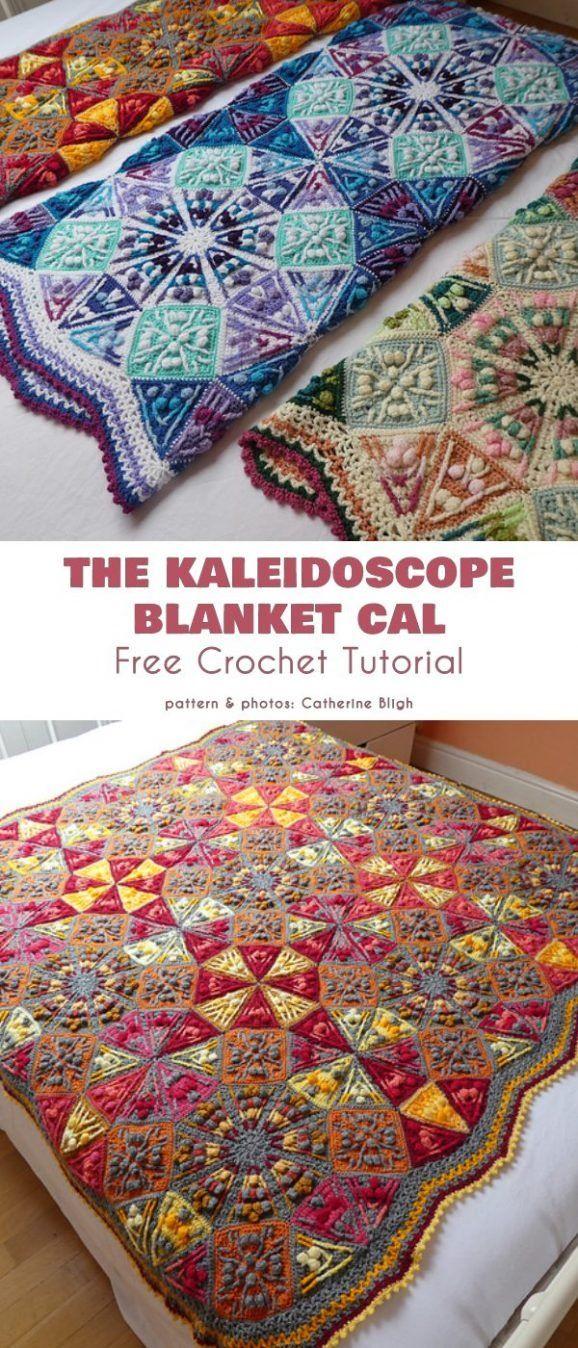 Kaleidoscope Blanket Free Crochet Patterns #crochethooks