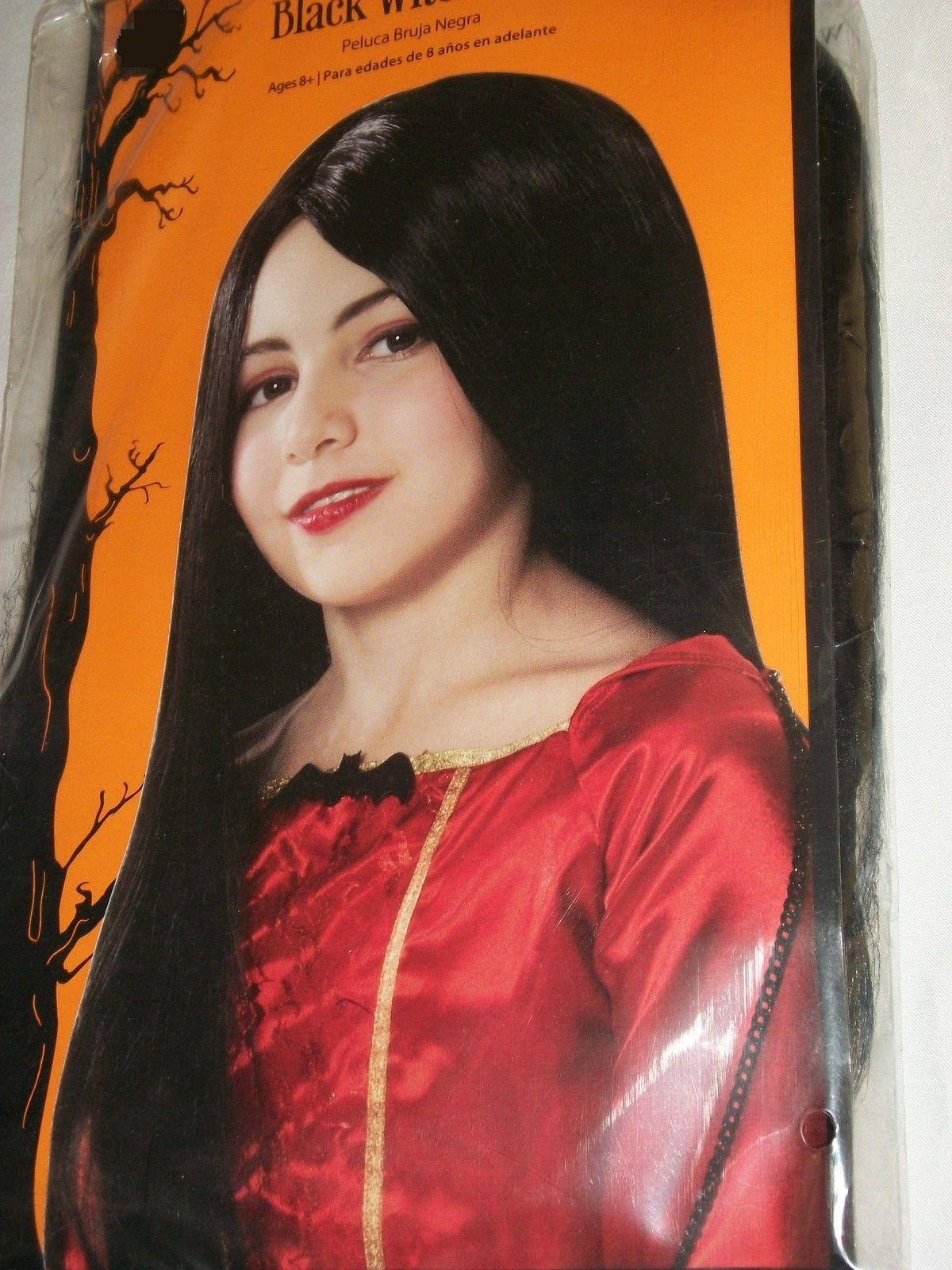 Halloween costume childus long black witch vampire snow white wig