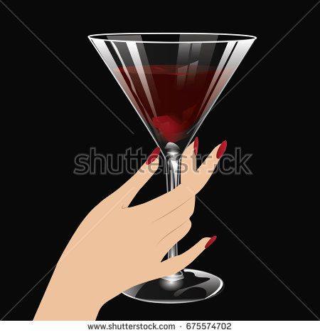 Female Elegant Hand Holding A Transparent Glass Of Red Wine Art