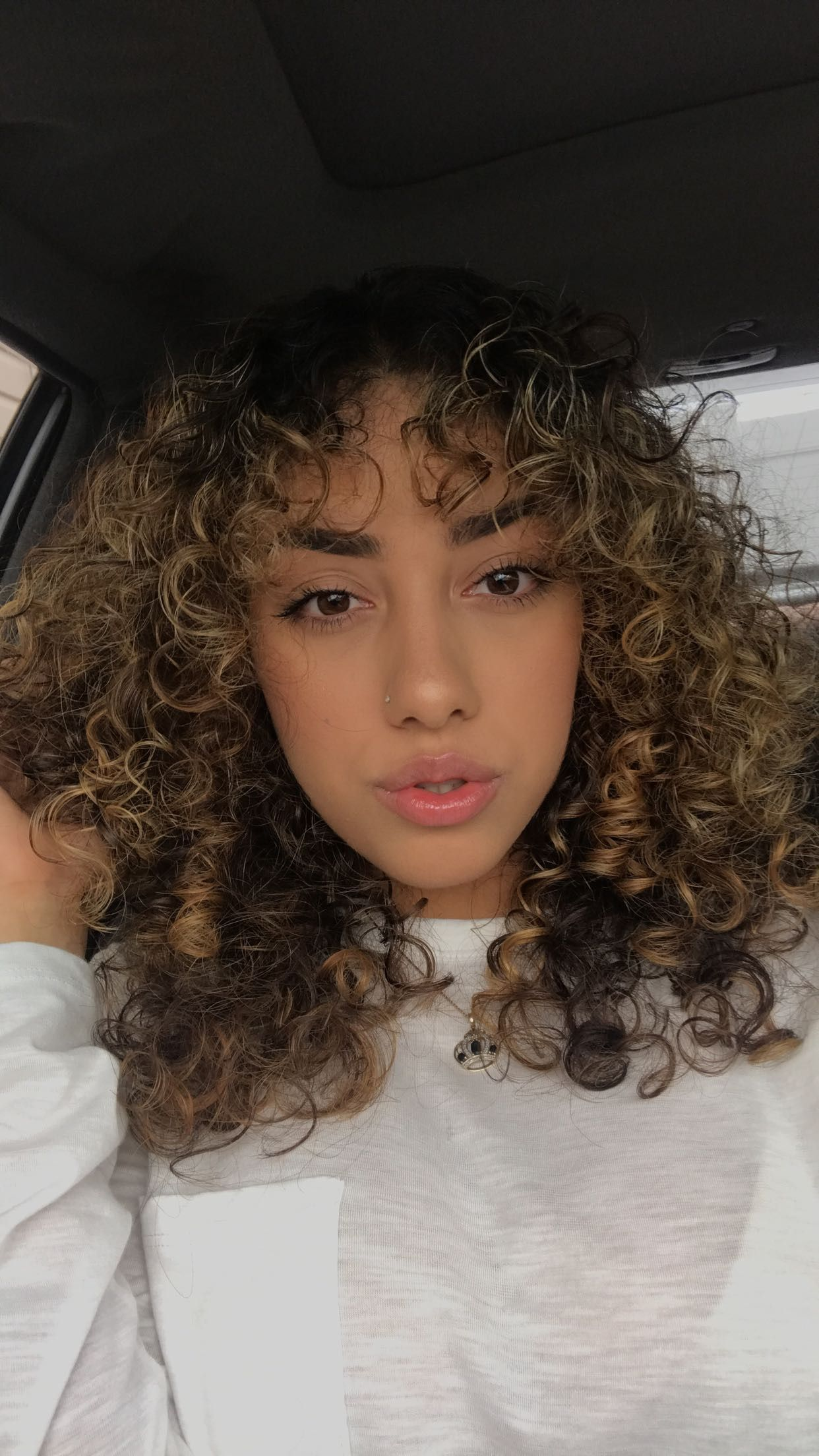 3a 3b Curly Hair Highlights Curly Bangs Curls Medium Length