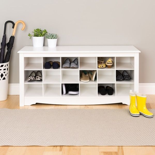 Prepac Winslow White Shoe Storage Cubbie Bench (MDF, Solid)
