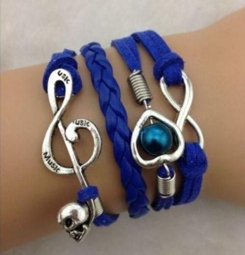 Infinity Skull Note Heart Pearl Blue Leather Charm Bracelet plated Silver http://tophatter.com/lots/6969557?ref=1588603&campaign=twitter-share