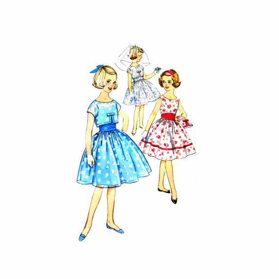 1950s Girls Dress Jacket Cummerbund Simplicity 2983 Vintage Sewing Pattern