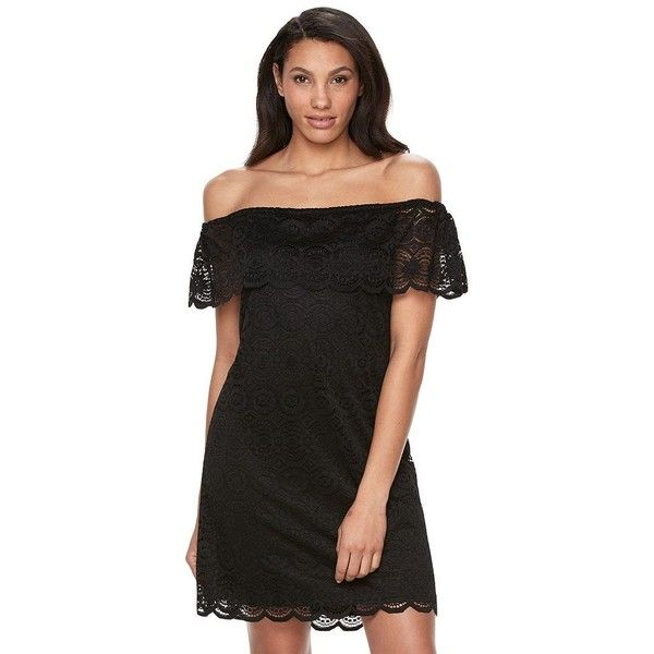 Women's Ronni Nicole Off-the-Shoulder Lace Dress ($75) ❤ liked on Polyvore featuring dresses, black, off shoulder formal dress, scalloped lace dress, formal cocktail dresses, off the shoulder formal dress and lace shift dress