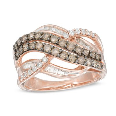 Zales 1/4 CT. T.w. Champagne and White Diamond Layered Crossover Ring in Sterling Silver with 14K Rose Gold Plate xKHYU