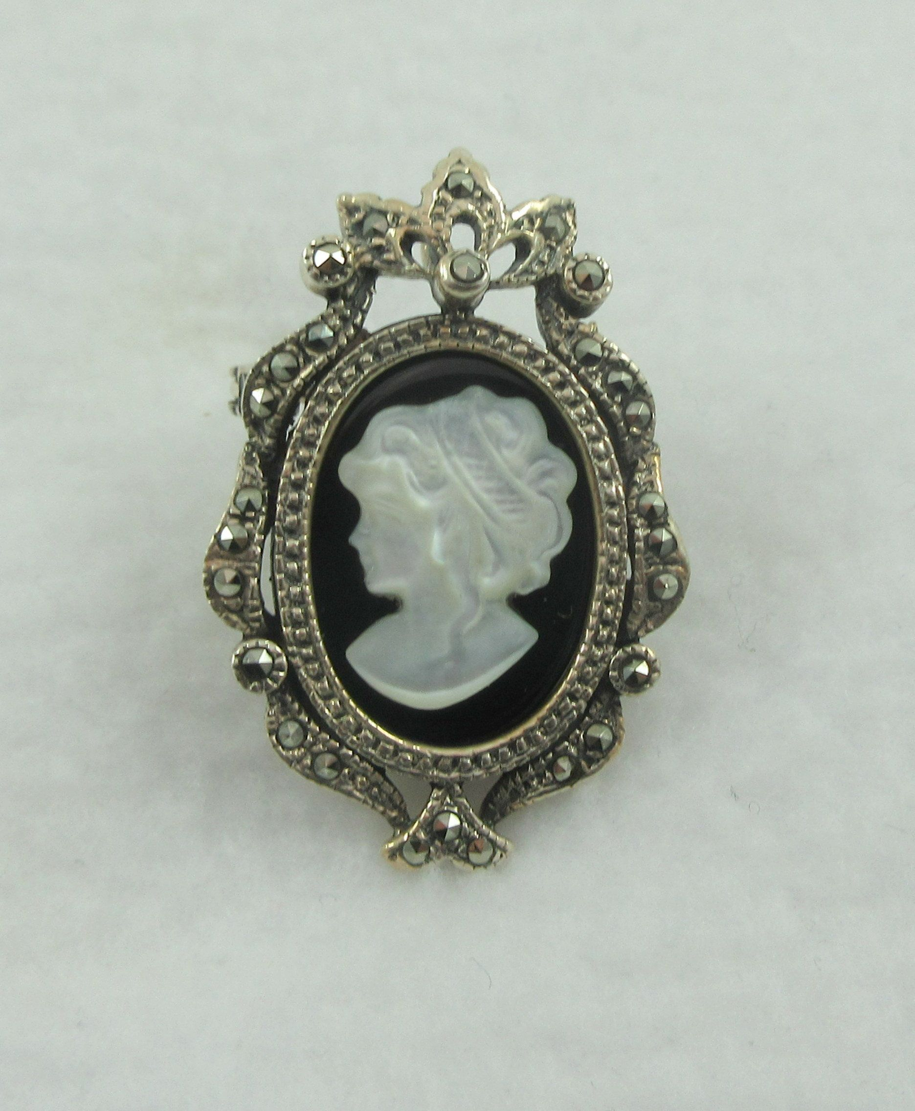 Antique Brooch Cameo Brooch Sterling Silver Marcasite Hand Carved Mother of Pearl Shell Antique Cameo