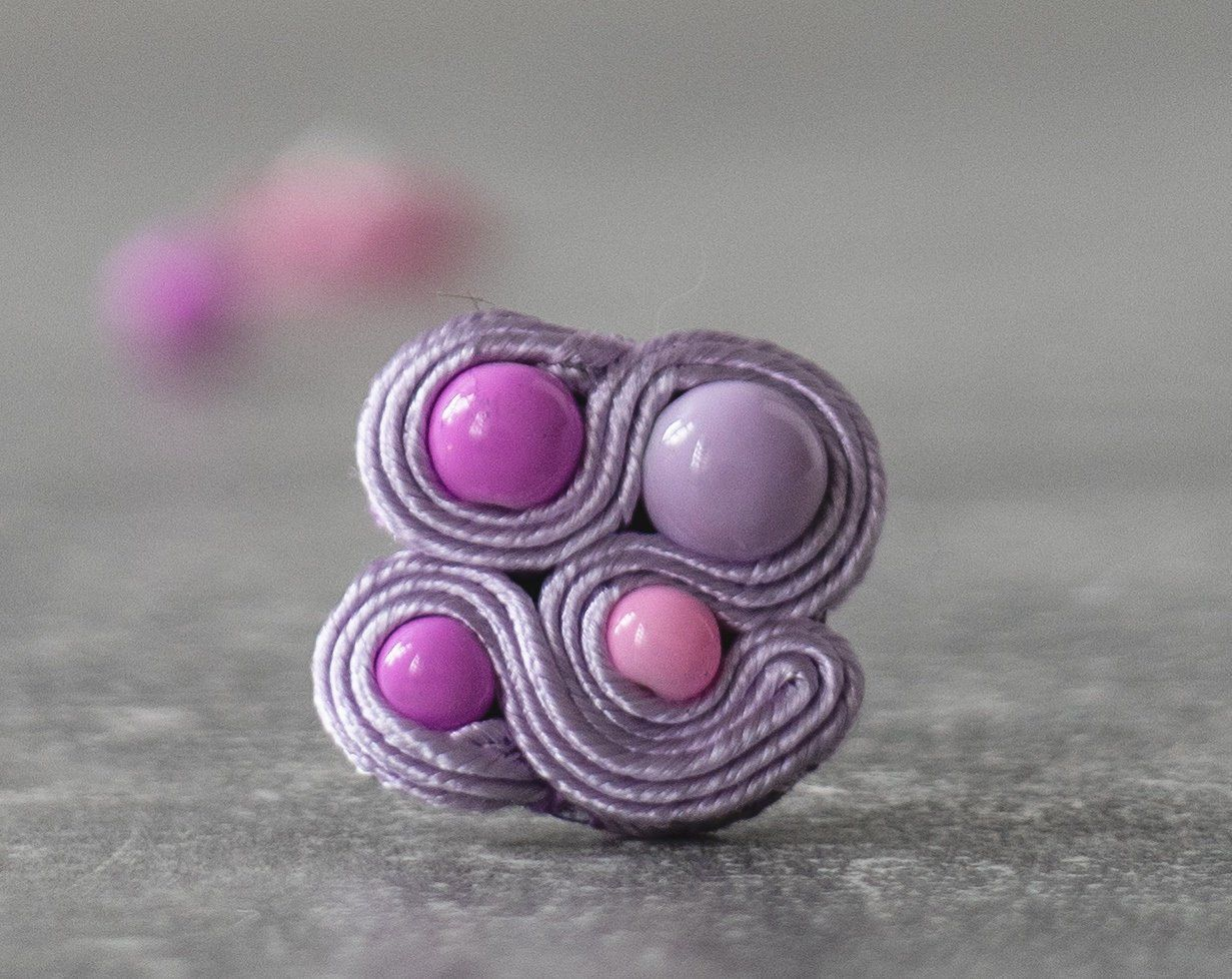 Pastel Purple Ring / Soutache Jewelry / Elegant Adjustable Ring / Pastel Goth Jewelry/ Handsewn Jewelry / Cruelty Free / Casual Goth Store #casualgoth