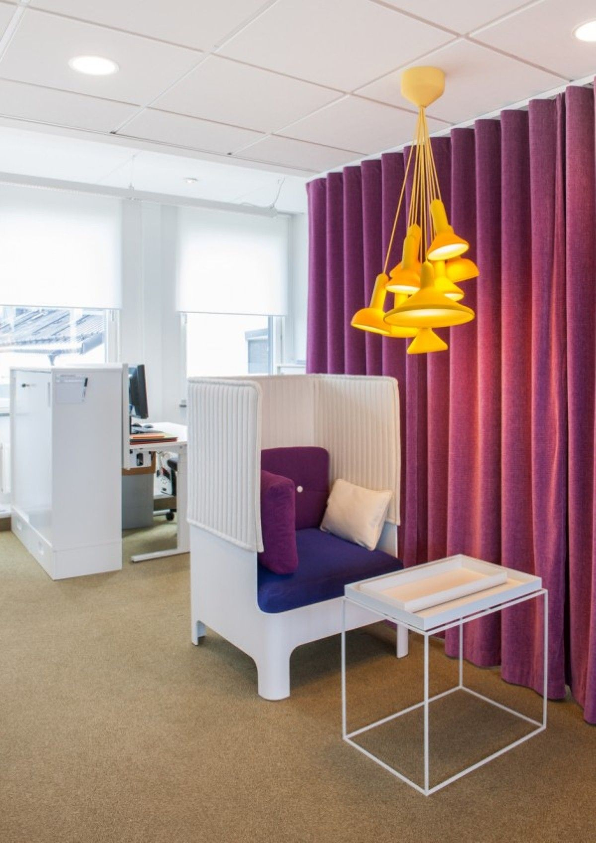 office cubicle lighting. Unique Cozy Private Cubicle In The Magnificent White HSB Office Space Showcases Orange Light Fixture Overhead And Green Flooring Lighting