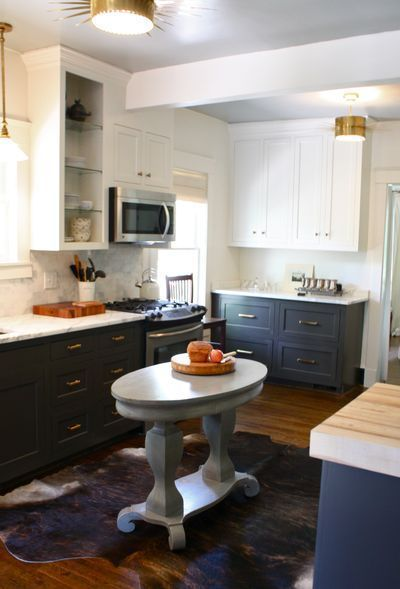 Different Color Top And Bottom Kitchen Cabinets Found On