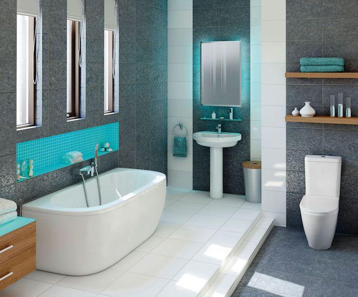 bad einrichten in weiß und grau mit blauen farbakzenten Badezimmer