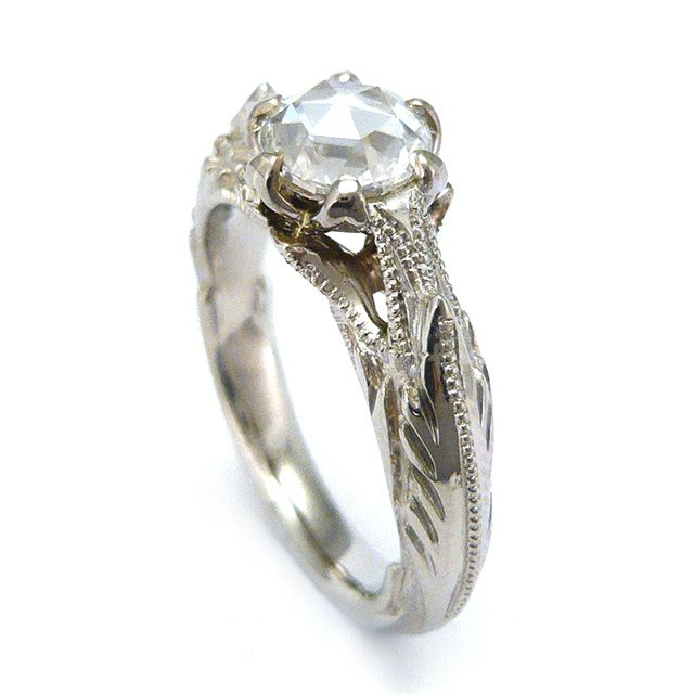 engagement ring diamond white gold organic Toronto Jewelry