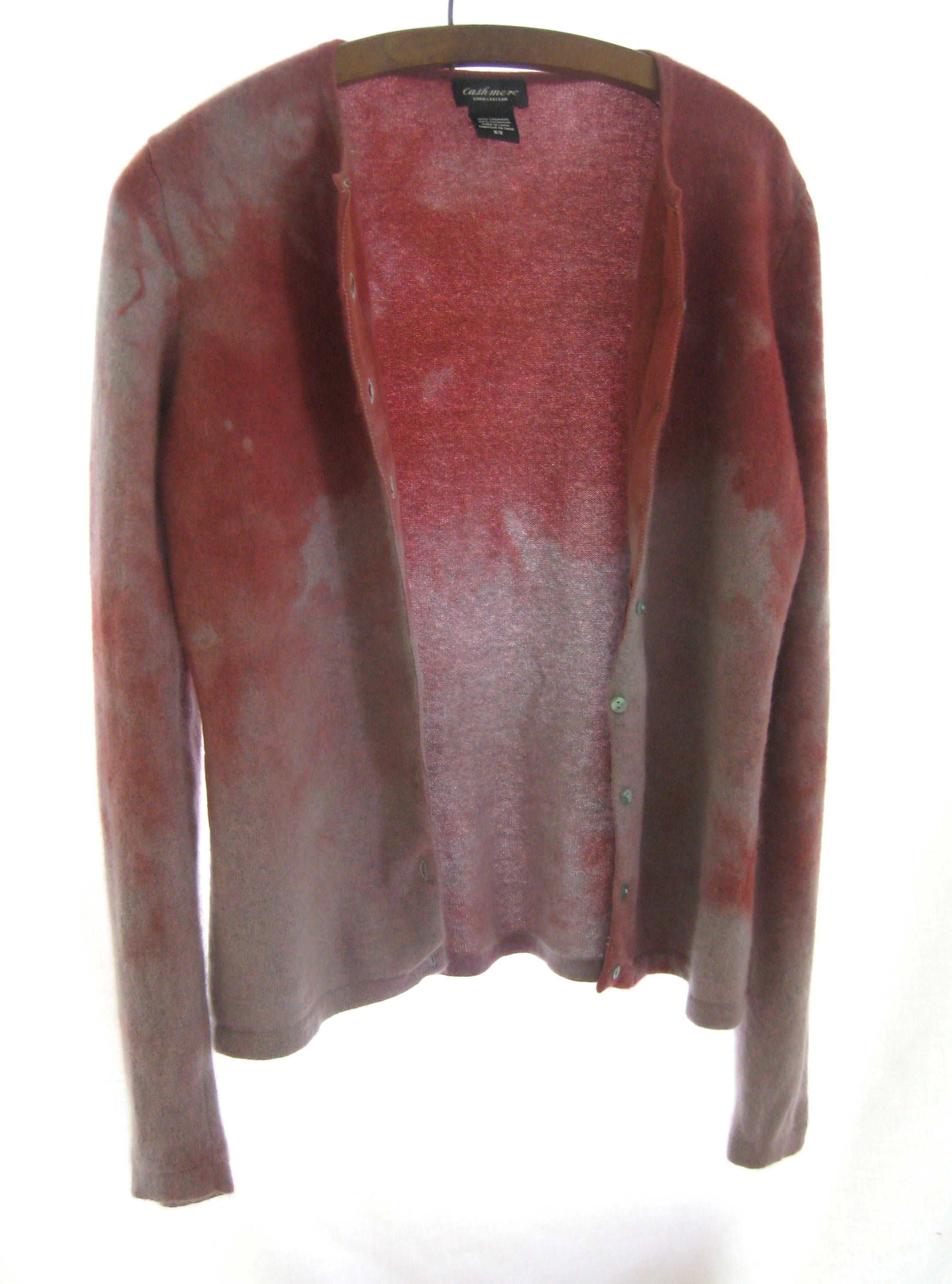Cashmere hand dyed up-cycled cardigan, designer knitwear, soft red ...