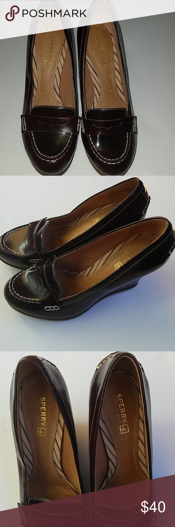 85b406cf031 Sperry top sider penny loafer wedge Ladies burgundy Sperry Top Sider
