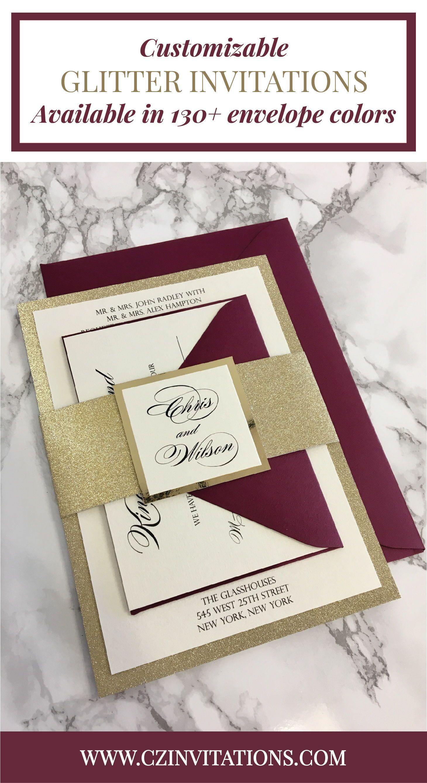 Gold glitter wedding invitation with burgundy envelopes pinterest
