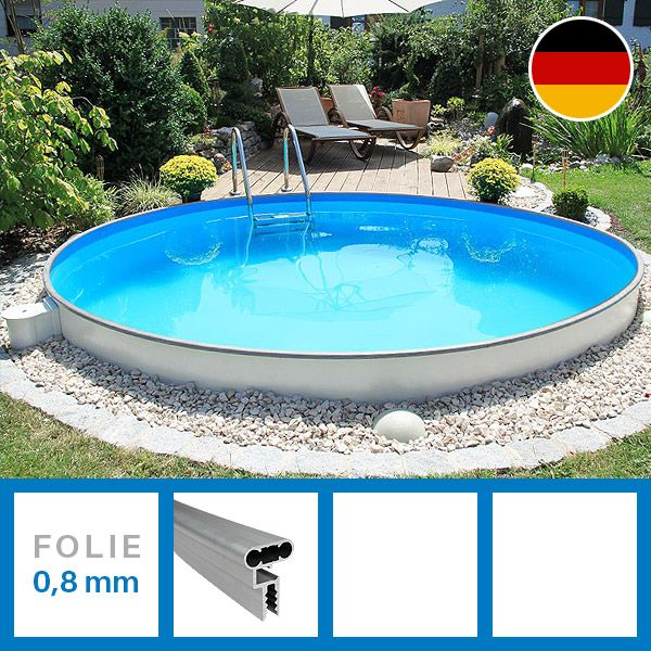 stahlwandbecken premium rundpool 3 50 x 1 20 m made in germany sowohl frei aufstellbar als. Black Bedroom Furniture Sets. Home Design Ideas