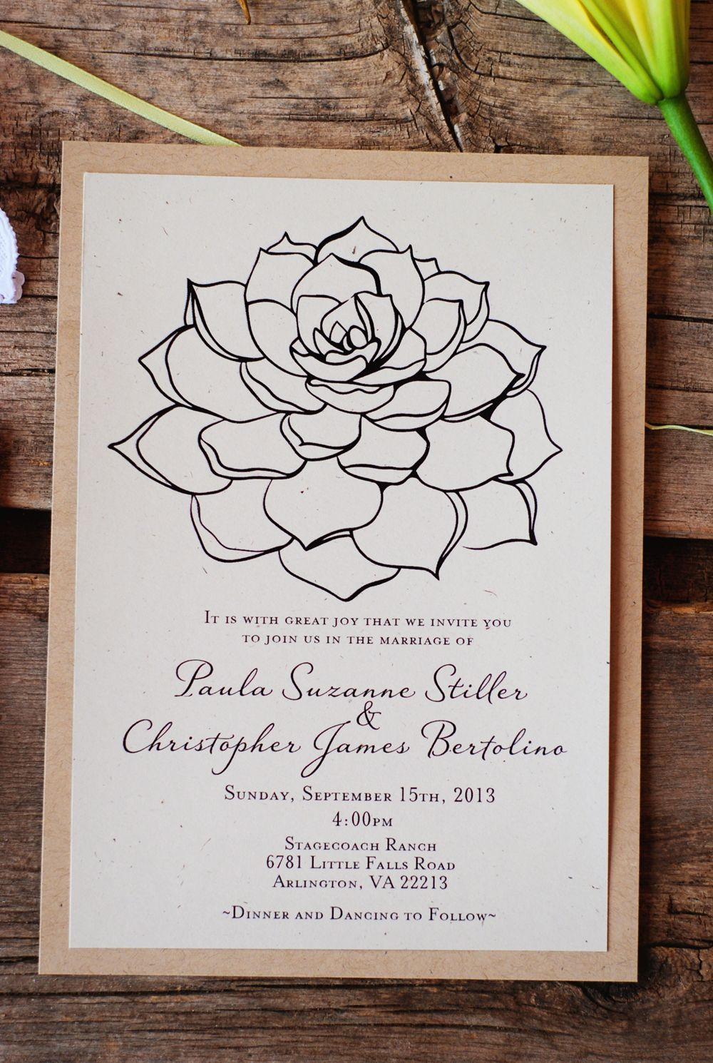 Succulent Wedding Invitations - Vintage Rustic Modern - Recycled ...