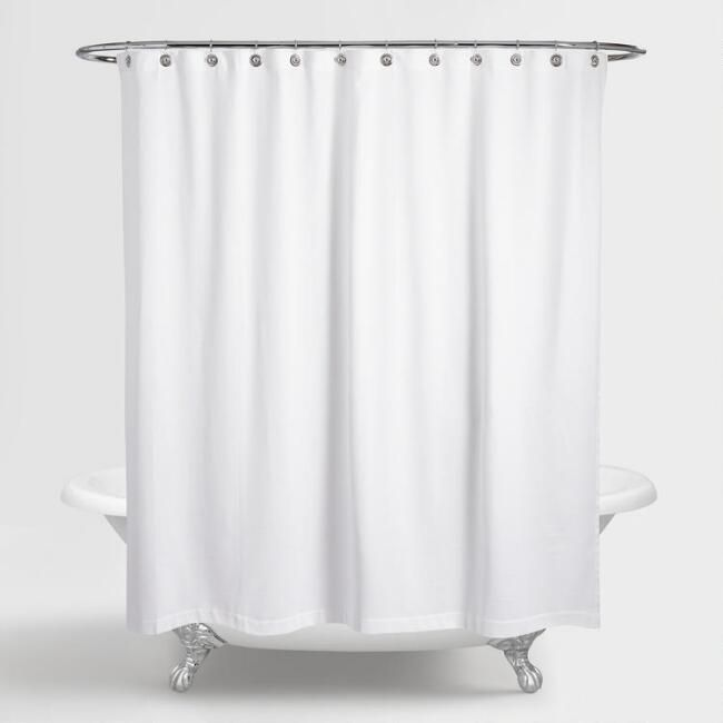 Waffle Weave Shower Curtain White Cotton By World Market Curtains Shower Curtain Rings Curtain World