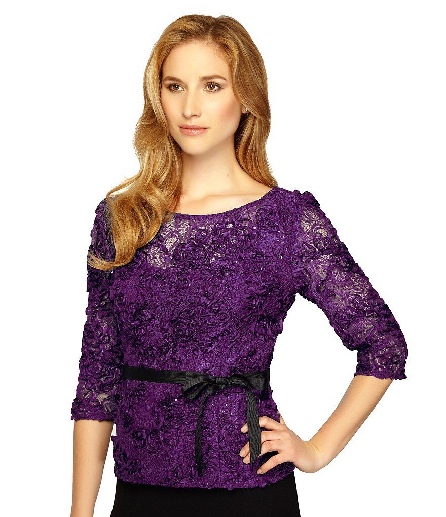Casis:Alex Evenings Rosette-Lace 3/4 Sleeve Blouse   Big Event in ...