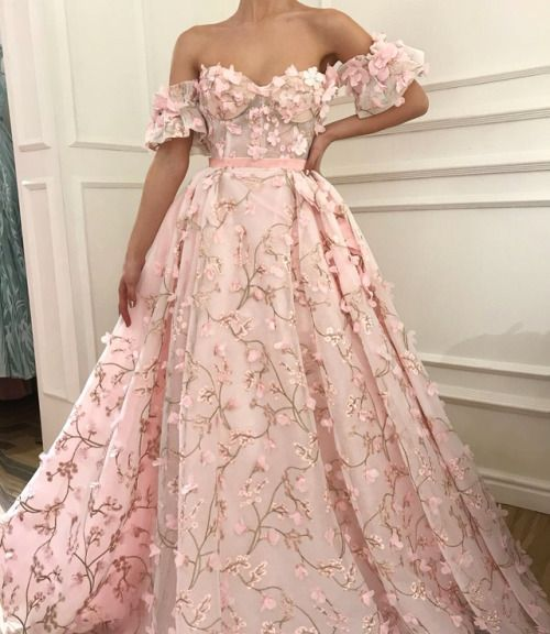 Pink Floral Appliques Off The Shoulder Sweetheart Floor Length Tulle Prom Gown Gowns Blush Pink Prom Dresses Ball Dresses