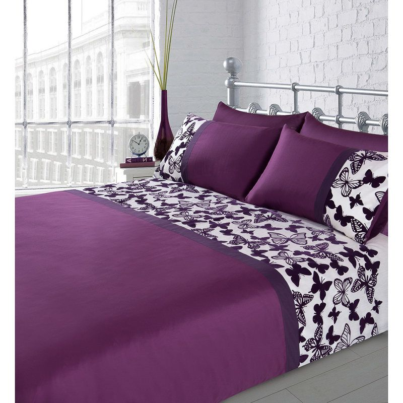 One Duvet Cover And Two Pillow Cases 100 Polyester Purple