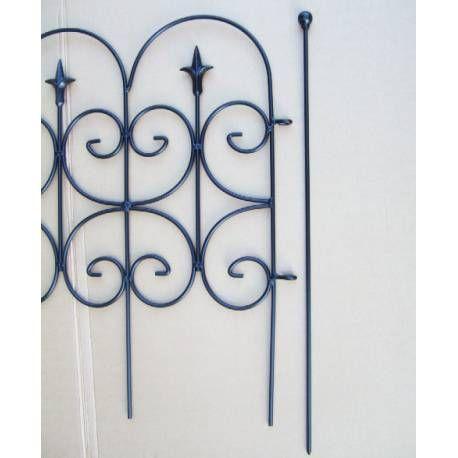 Bordure Fleur De Lys Clôture De Jardin Grille Barrière Modulable Intérieur  Extérieur Fer Forgé Peinture Epoxy Noir 2x80x130cm | Architecture