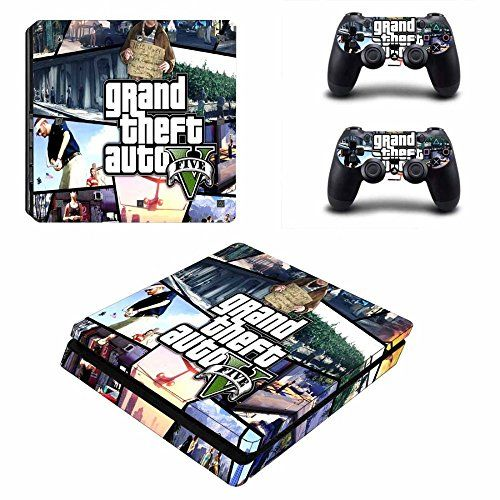 Mightystickers Gta 5 Grand Theft Auto V 5 Ps4 Slim Console Wrap Cover Skins Vinyl Sticker Decal Protect Ps4 Slim Console Playstation 4 Console Ps4 Pro Console