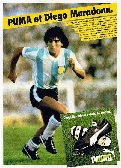 Diego Maradona of Argentina in Puma Boots advert in 1982