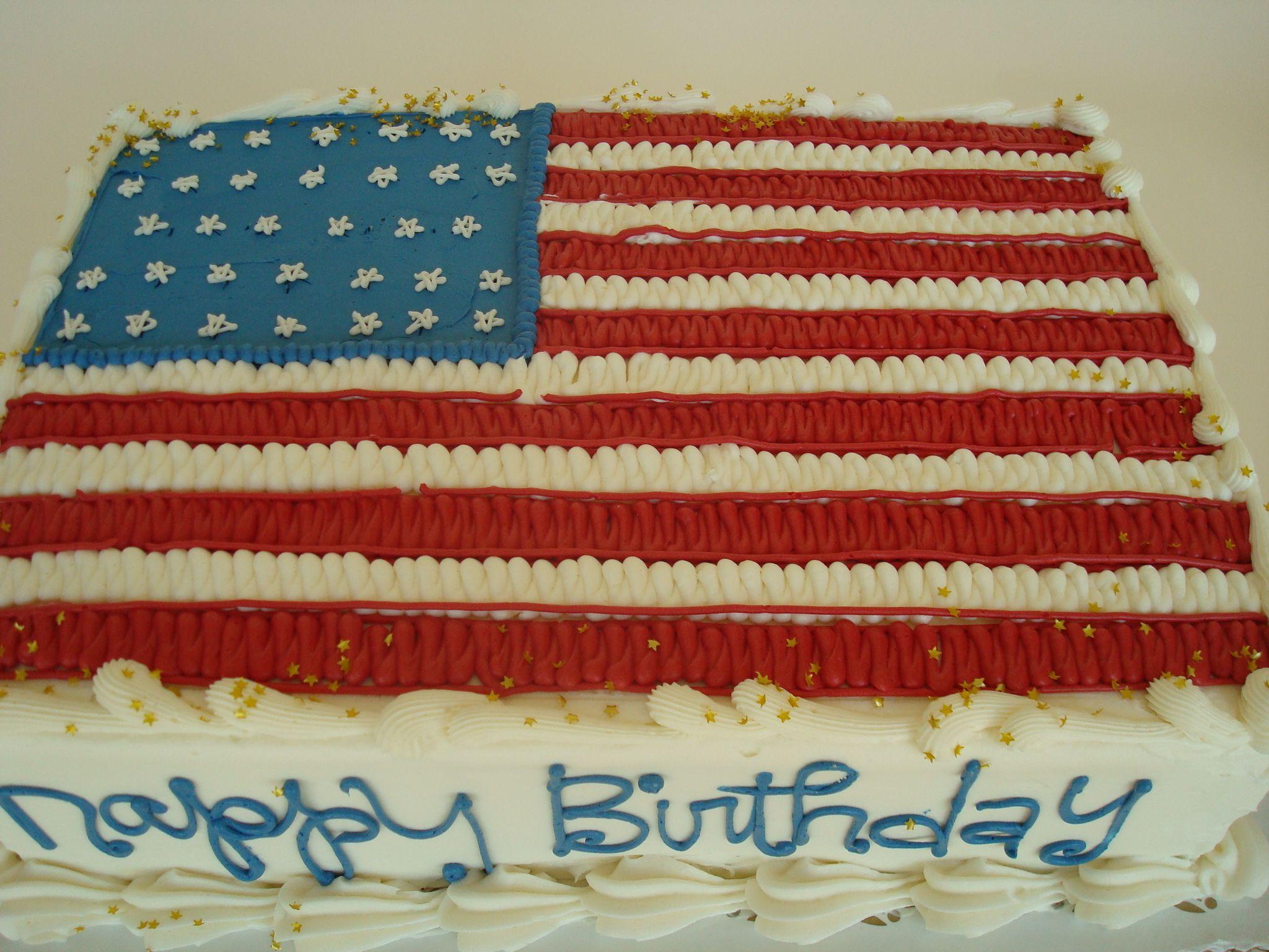 Cake Decor Flags : American Flag. buttercream sheet cake. Cake Decorating Pinterest
