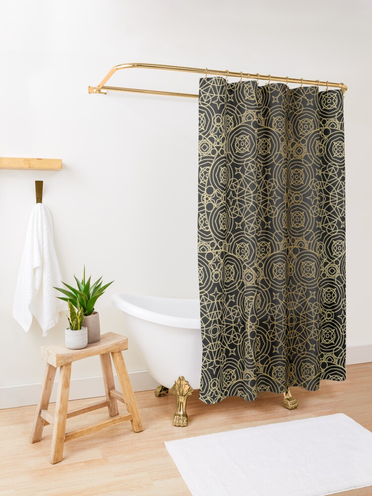 Mystical Black Gold Design Shower Curtain In 2020 Green Shower