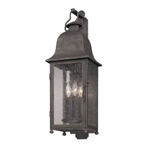 Outdoor Wall Lantern Lights New Troy Aged Pewter Larchmont Threelight Wall Mount  Light Walls Design Ideas
