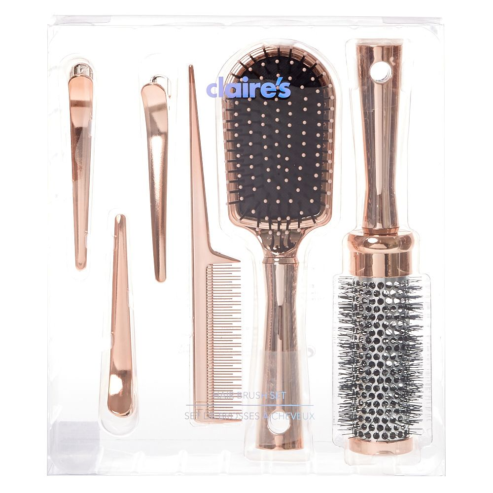 P Brush Detangle And Comb Hair To Perfection With This Hair Brush Set The Shiny Rose Gold Handles Lets You Styl Rose Gold Hair Hair Brush Set Hair Tool Set